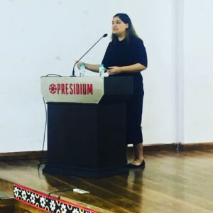 Sakshi Mittal during a career counselling session for Presidium School students in Delhi